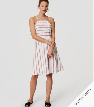Beach Striped Strappy Halter Dress